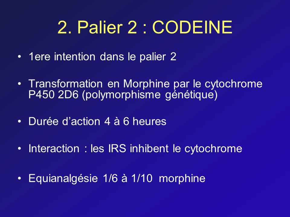 2. Palier 2 : CODEINE 1ere intention dans le palier 2