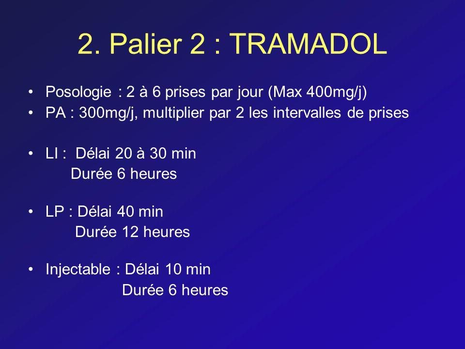 2. Palier 2 : TRAMADOL Posologie : 2 à 6 prises par jour (Max 400mg/j)