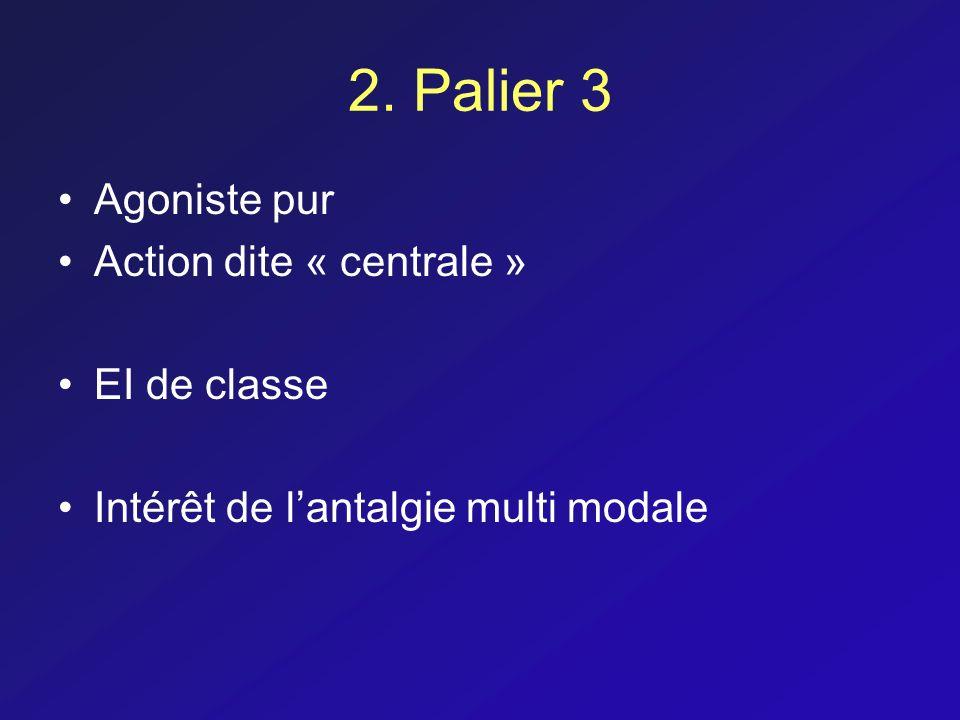 2. Palier 3 Agoniste pur Action dite « centrale » EI de classe