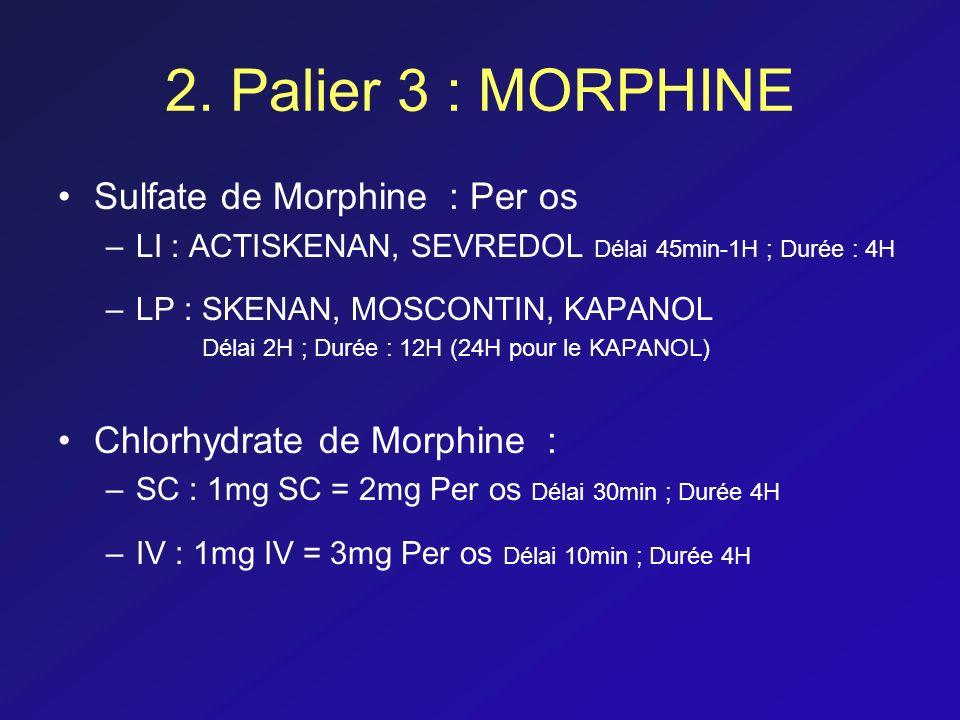 2. Palier 3 : MORPHINE Sulfate de Morphine : Per os