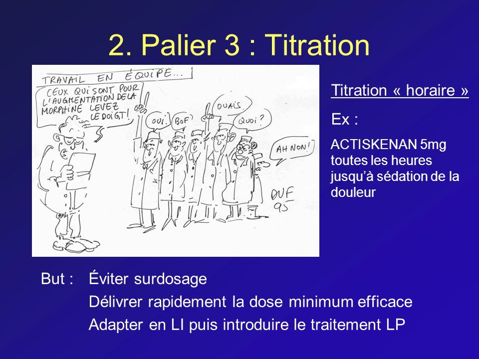2. Palier 3 : Titration Titration « horaire » Ex :