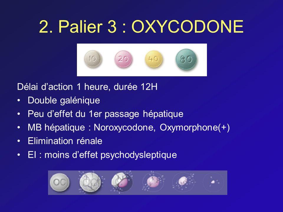 2. Palier 3 : OXYCODONE Délai d'action 1 heure, durée 12H