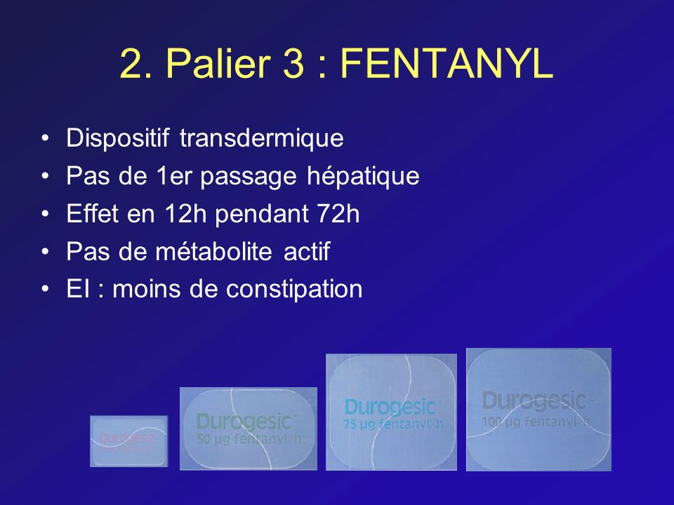 2. Palier 3 : FENTANYL Dispositif transdermique