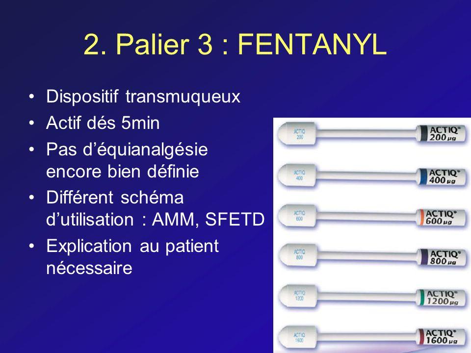 2. Palier 3 : FENTANYL Dispositif transmuqueux Actif dés 5min