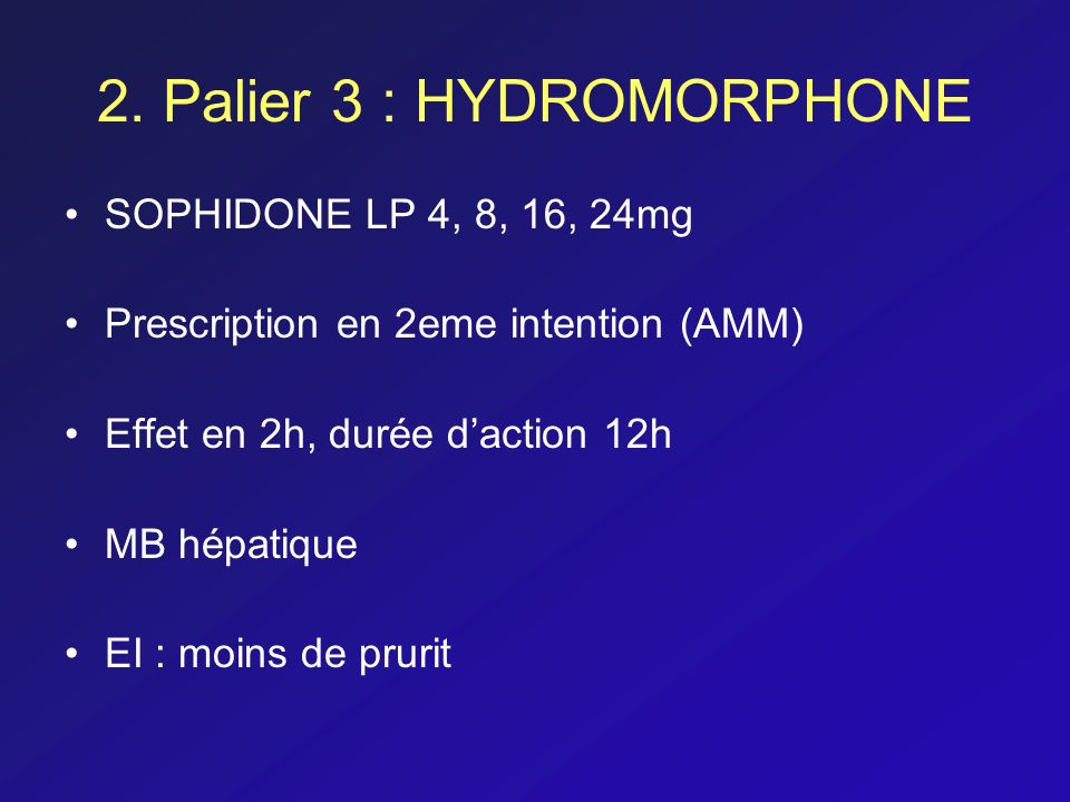 2. Palier 3 : HYDROMORPHONE