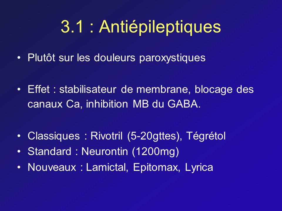 3.1 : Antiépileptiques Plutôt sur les douleurs paroxystiques