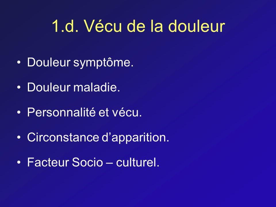 1.d. Vécu de la douleur Douleur symptôme. Douleur maladie.