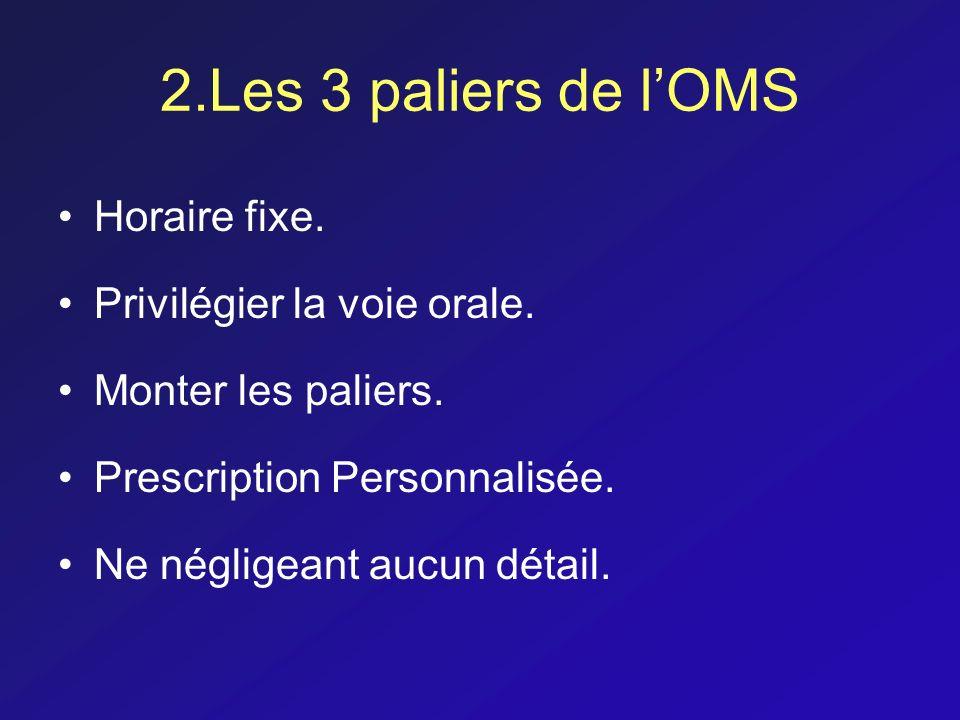 2.Les 3 paliers de l'OMS Horaire fixe. Privilégier la voie orale.