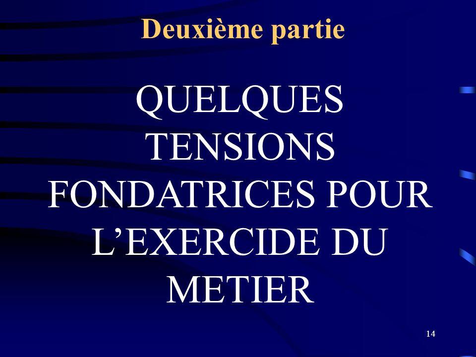 QUELQUES TENSIONS FONDATRICES POUR L'EXERCIDE DU METIER