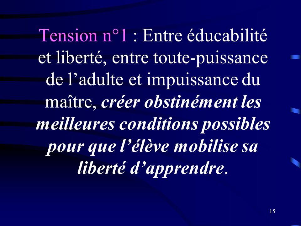 Tension n°1 : Entre éducabilité et liberté, entre toute-puissance de l'adulte et impuissance du maître, créer obstinément les meilleures conditions possibles pour que l'élève mobilise sa liberté d'apprendre.