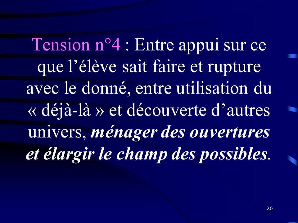Tension n°4 : Entre appui sur ce que l'élève sait faire et rupture avec le donné, entre utilisation du « déjà-là » et découverte d'autres univers, ménager des ouvertures et élargir le champ des possibles.
