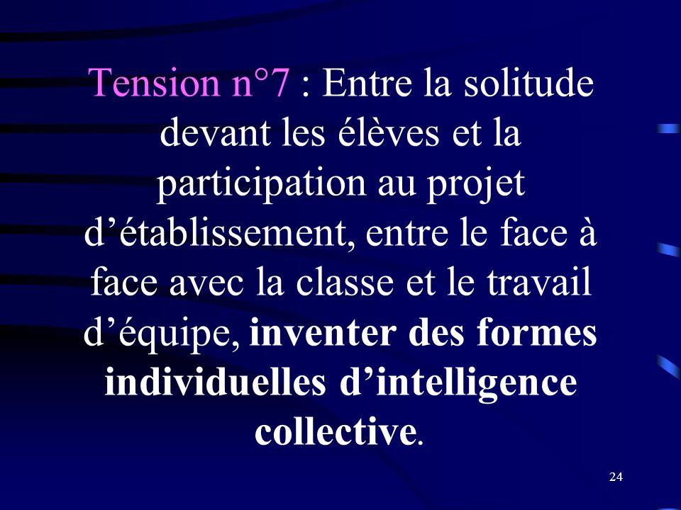Tension n°7 : Entre la solitude devant les élèves et la participation au projet d'établissement, entre le face à face avec la classe et le travail d'équipe, inventer des formes individuelles d'intelligence collective.