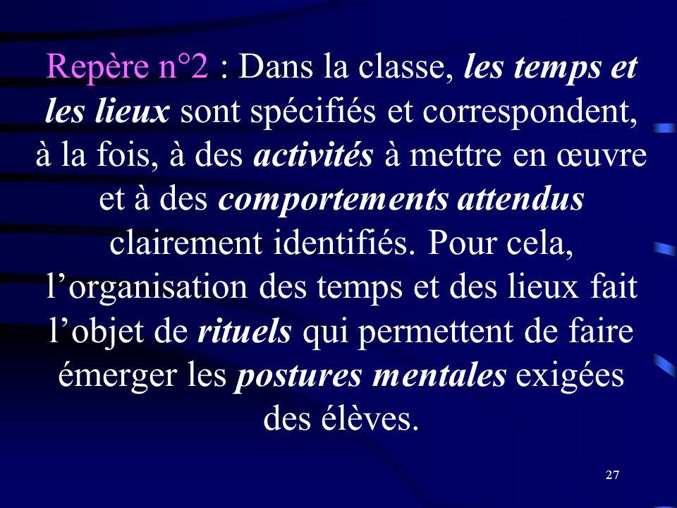 Repère n°2 : Dans la classe, les temps et les lieux sont spécifiés et correspondent, à la fois, à des activités à mettre en œuvre et à des comportements attendus clairement identifiés.