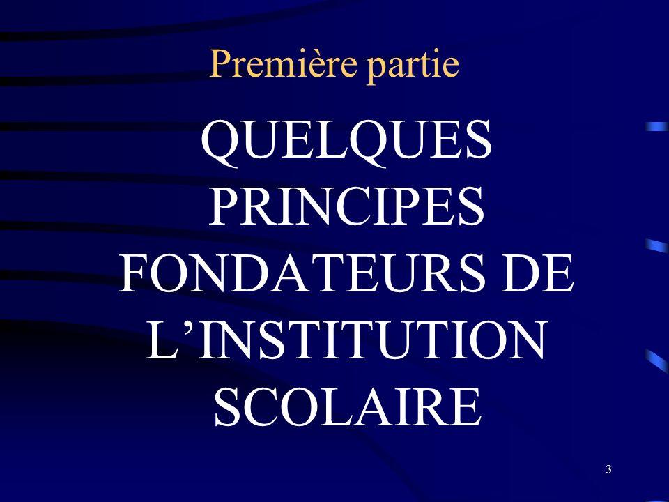 QUELQUES PRINCIPES FONDATEURS DE L'INSTITUTION SCOLAIRE