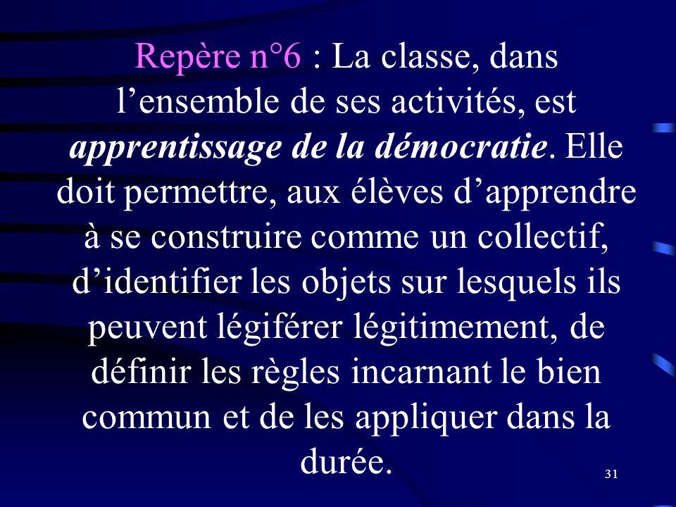 Repère n°6 : La classe, dans l'ensemble de ses activités, est apprentissage de la démocratie.