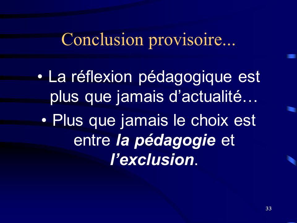 Conclusion provisoire...