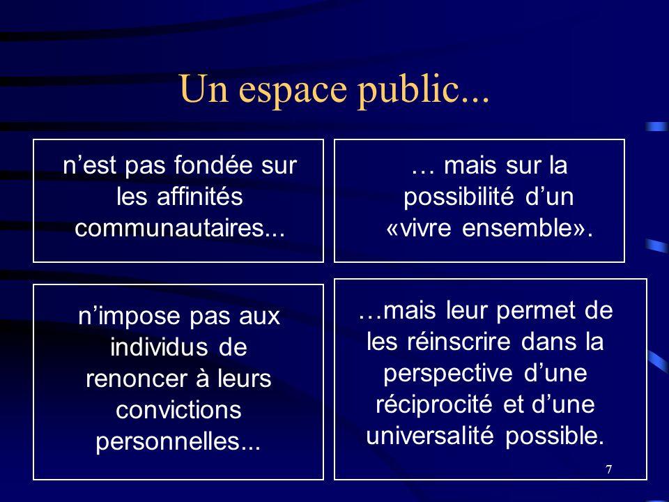 Un espace public... n'est pas fondée sur les affinités communautaires... … mais sur la possibilité d'un «vivre ensemble».