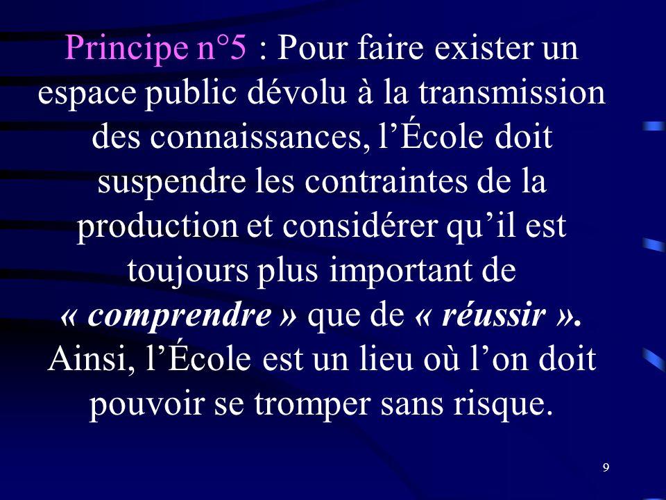 Principe n°5 : Pour faire exister un espace public dévolu à la transmission des connaissances, l'École doit suspendre les contraintes de la production et considérer qu'il est toujours plus important de « comprendre » que de « réussir ».