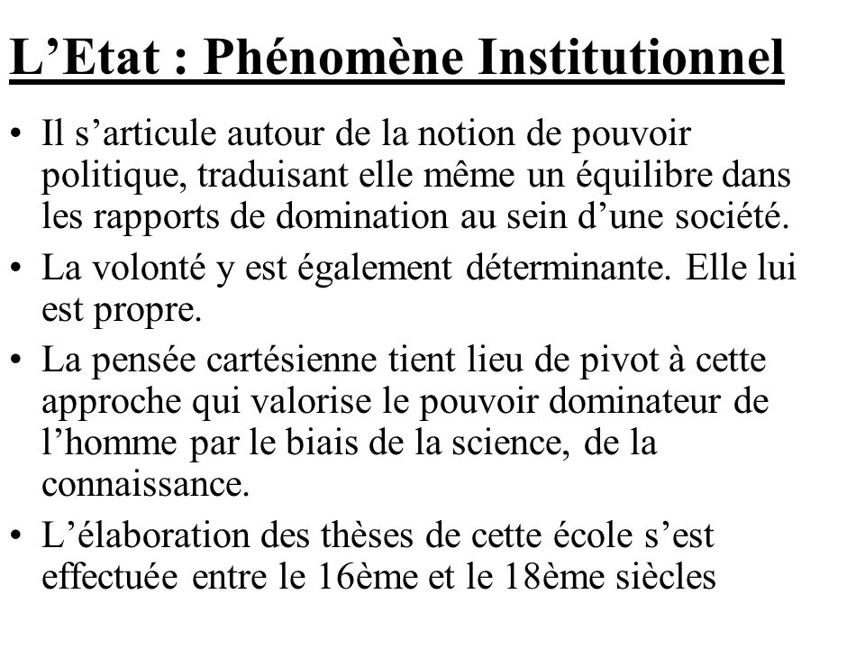 L'Etat : Phénomène Institutionnel