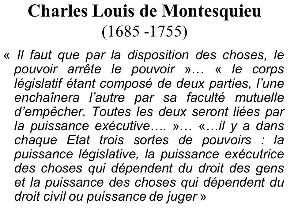 Charles Louis de Montesquieu (1685 -1755)