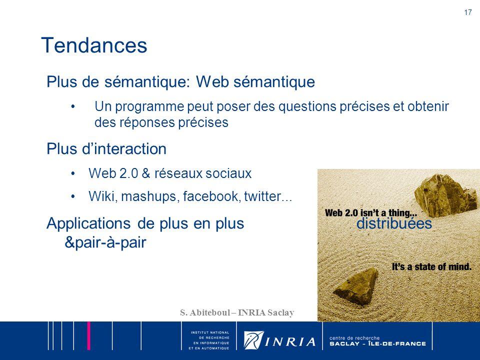Tendances Plus de sémantique: Web sémantique Plus d'interaction