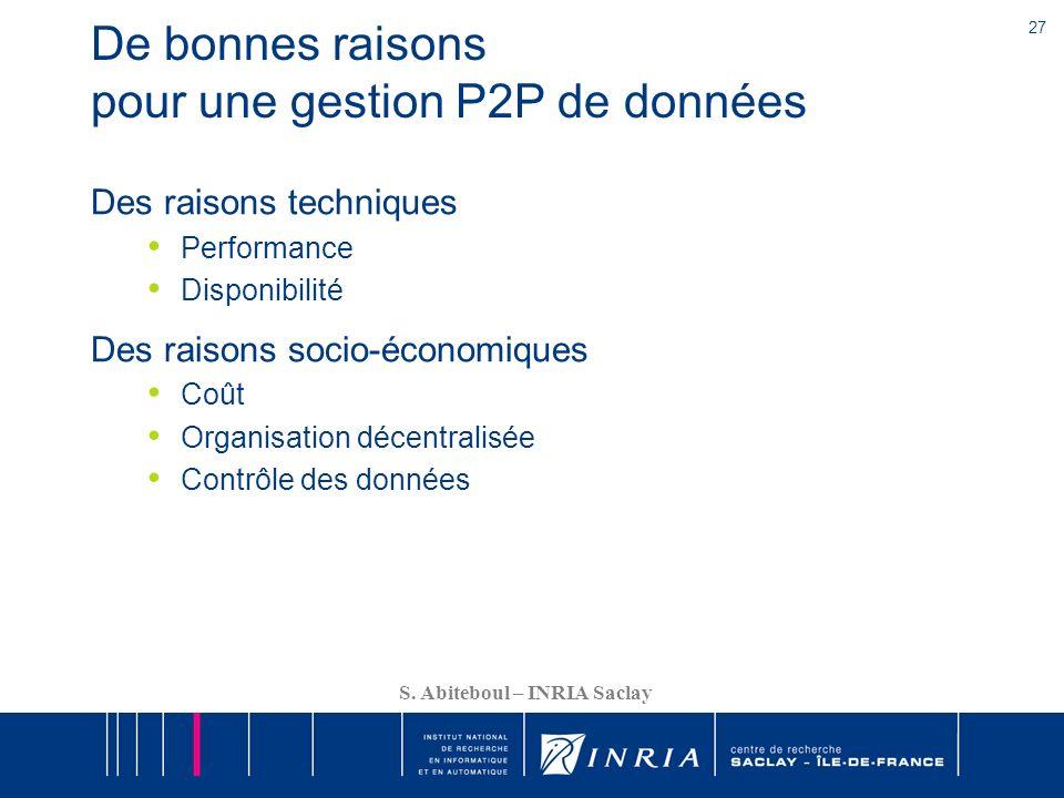 De bonnes raisons pour une gestion P2P de données
