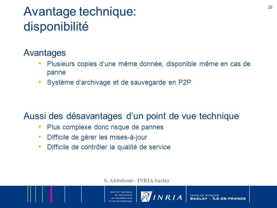 Avantage technique: disponibilité