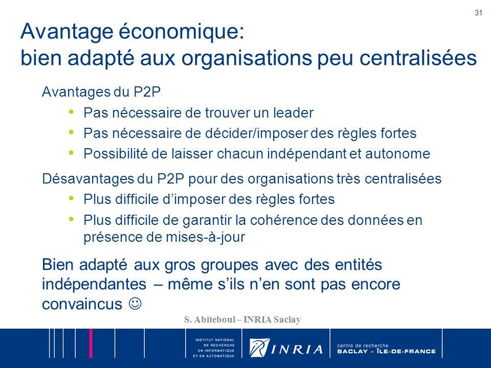 Avantage économique: bien adapté aux organisations peu centralisées