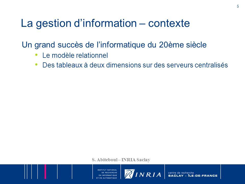 La gestion d'information – contexte