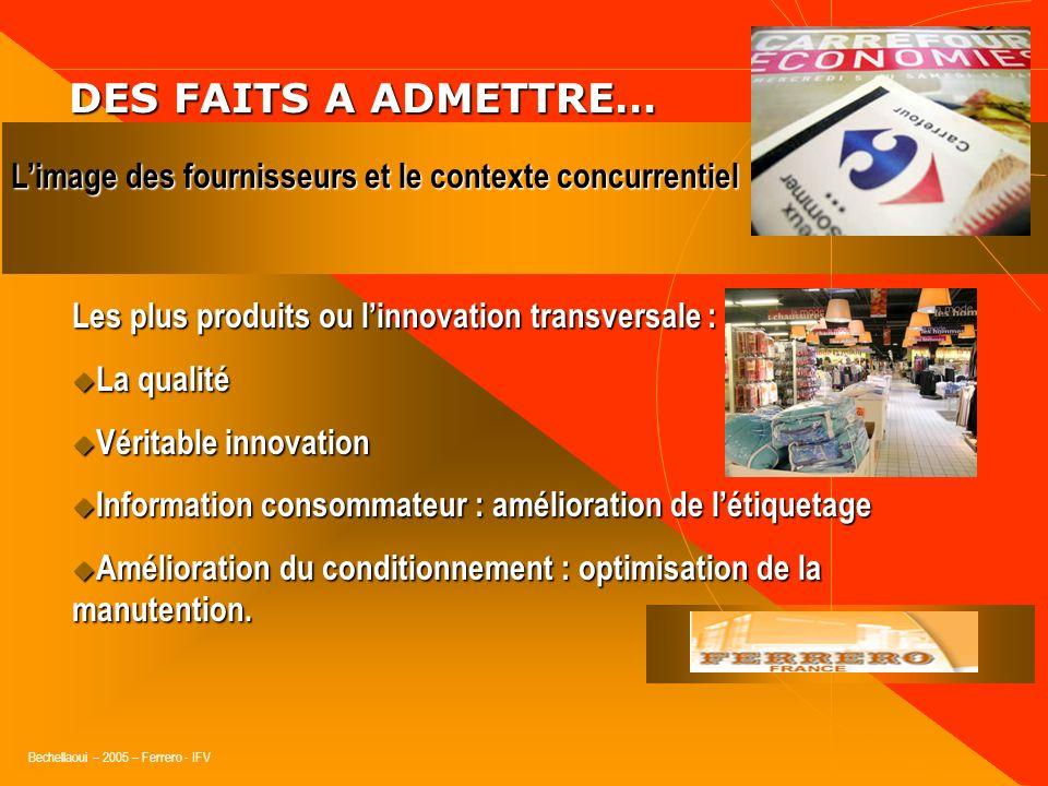 DES FAITS A ADMETTRE…L'image des fournisseurs et le contexte concurrentiel. Les plus produits ou l'innovation transversale :