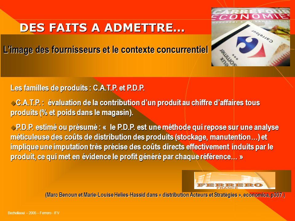 DES FAITS A ADMETTRE…L'image des fournisseurs et le contexte concurrentiel. Les familles de produits : C.A.T.P. et P.D.P.