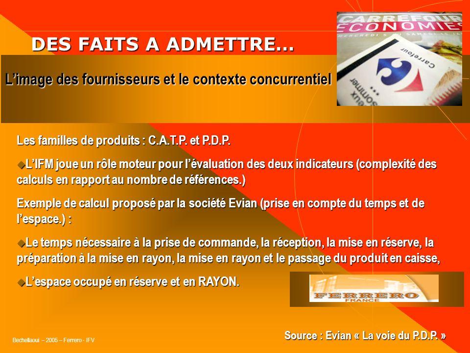DES FAITS A ADMETTRE… L'image des fournisseurs et le contexte concurrentiel. Les familles de produits : C.A.T.P. et P.D.P.