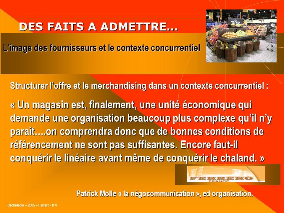 DES FAITS A ADMETTRE… L'image des fournisseurs et le contexte concurrentiel.