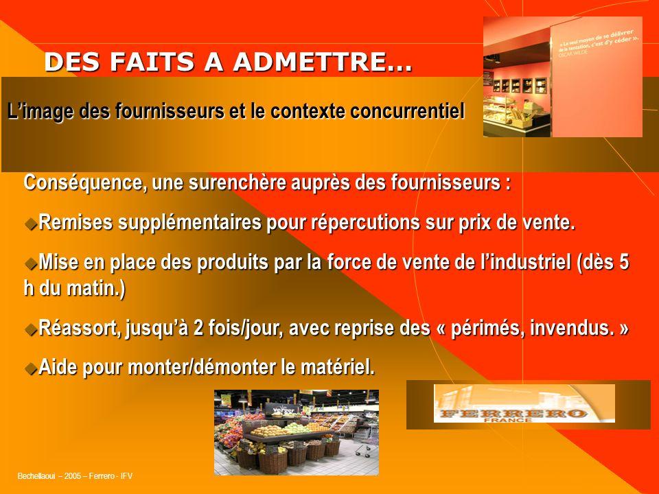 DES FAITS A ADMETTRE… L'image des fournisseurs et le contexte concurrentiel. Conséquence, une surenchère auprès des fournisseurs :