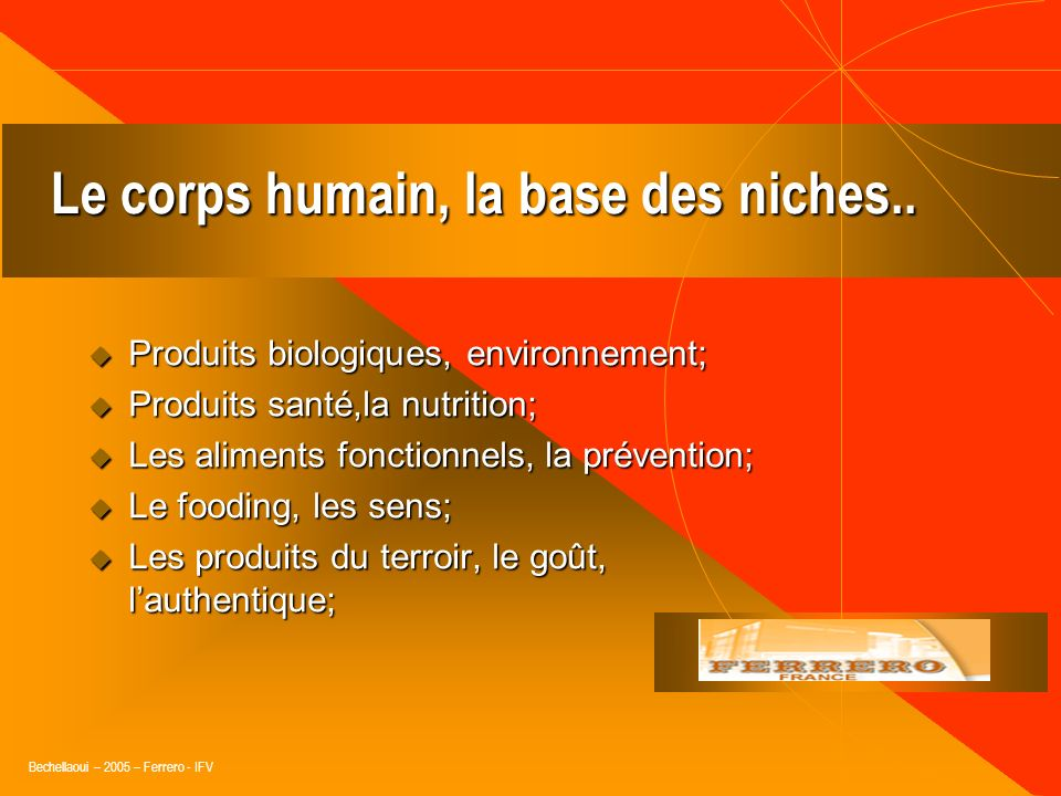 Le corps humain, la base des niches..