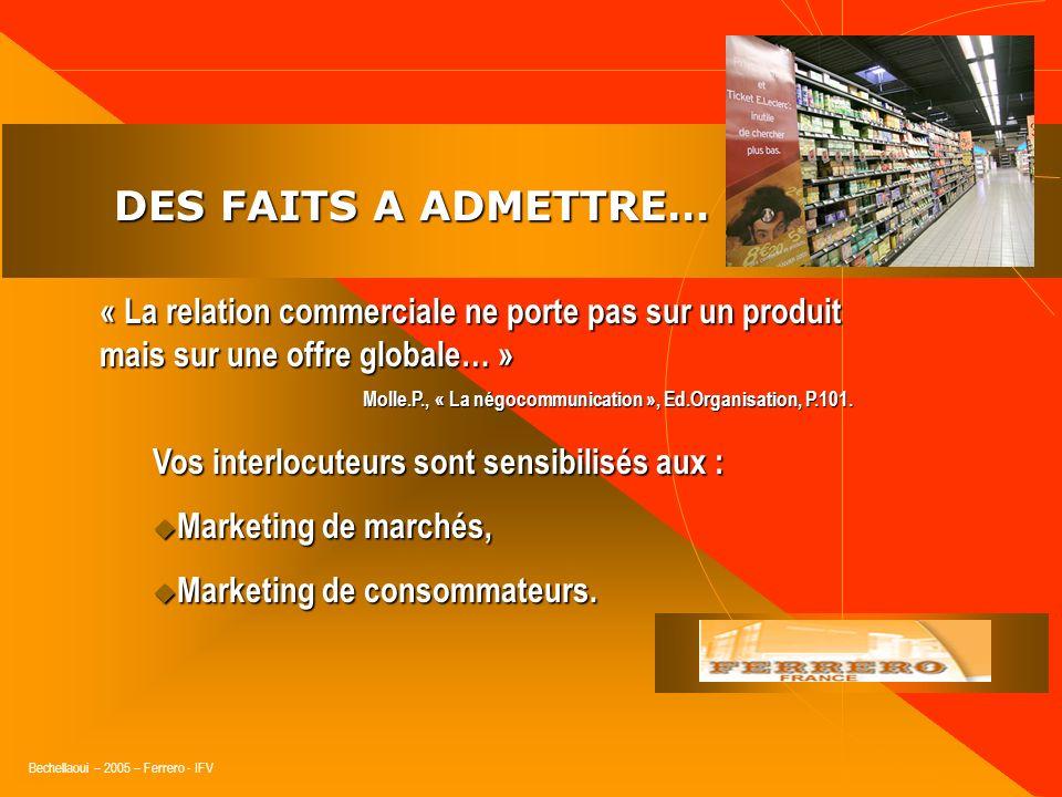 DES FAITS A ADMETTRE…« La relation commerciale ne porte pas sur un produit mais sur une offre globale… »