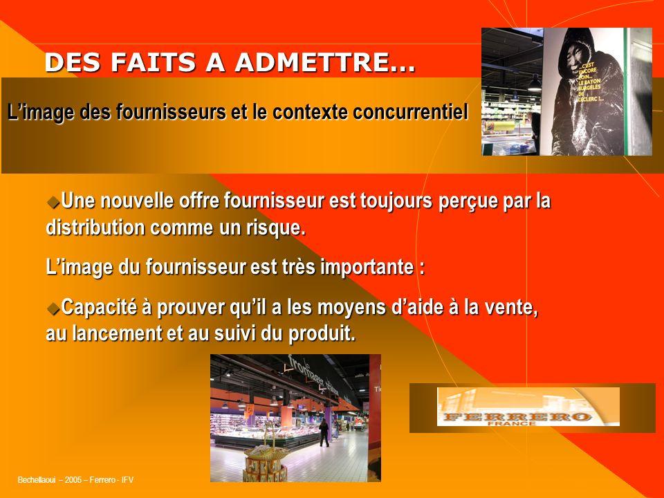 DES FAITS A ADMETTRE…L'image des fournisseurs et le contexte concurrentiel.