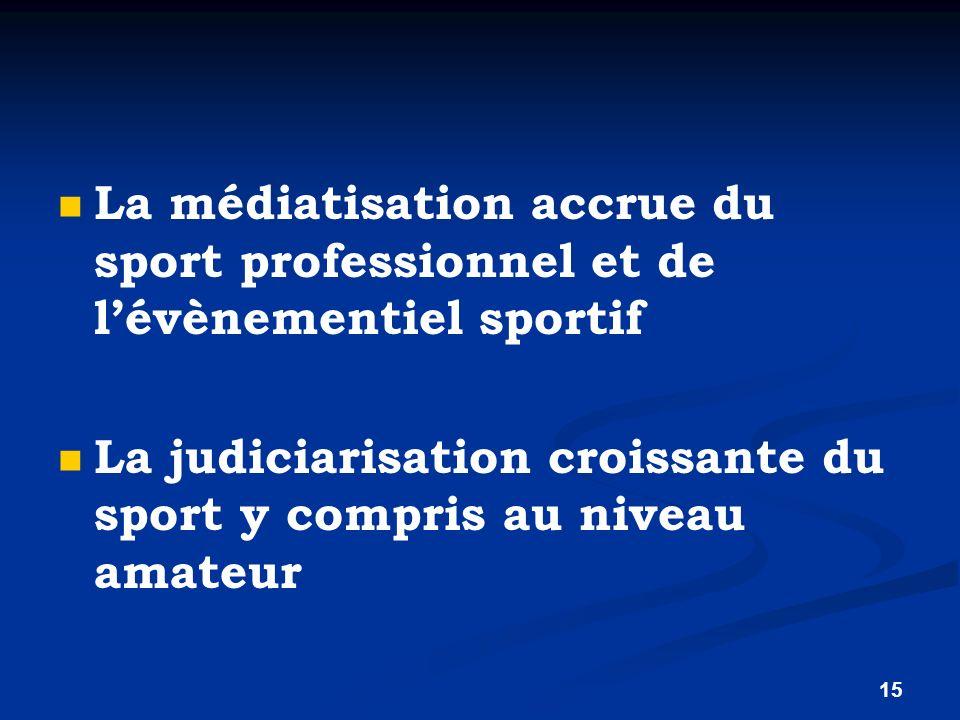 La médiatisation accrue du sport professionnel et de l'évènementiel sportif