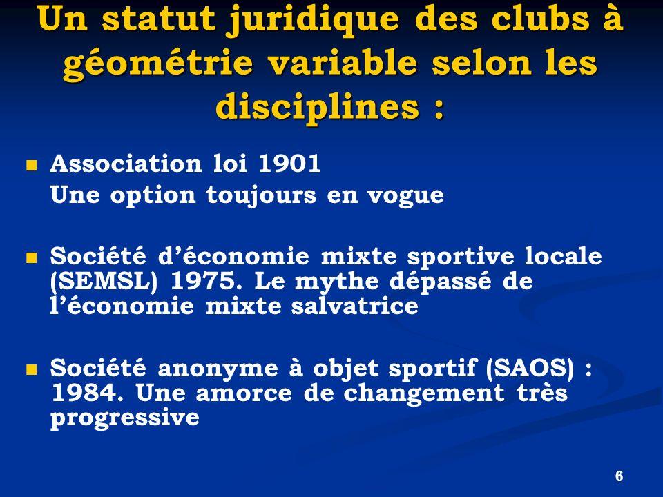 Un statut juridique des clubs à géométrie variable selon les disciplines :