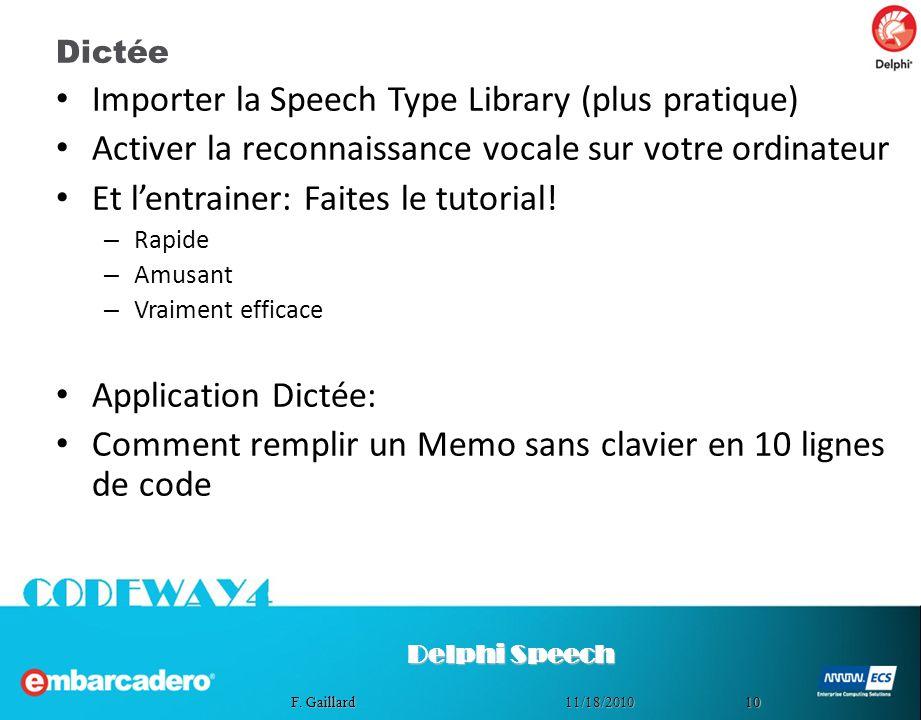 Importer la Speech Type Library (plus pratique)