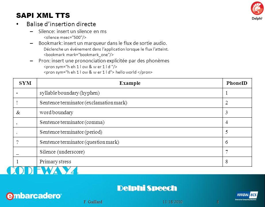 Delphi Speech SAPI XML TTS Balise d'insertion directe