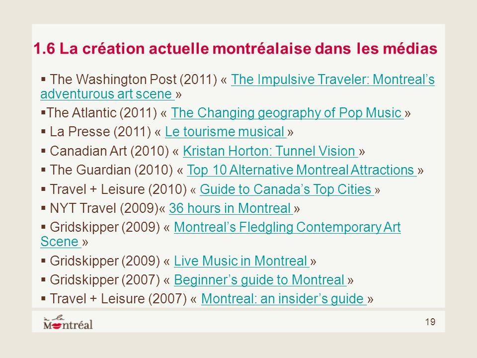 1.6 La création actuelle montréalaise dans les médias