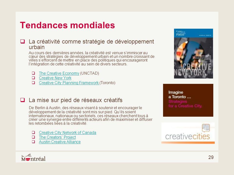 Tendances mondiales La créativité comme stratégie de développement urbain.