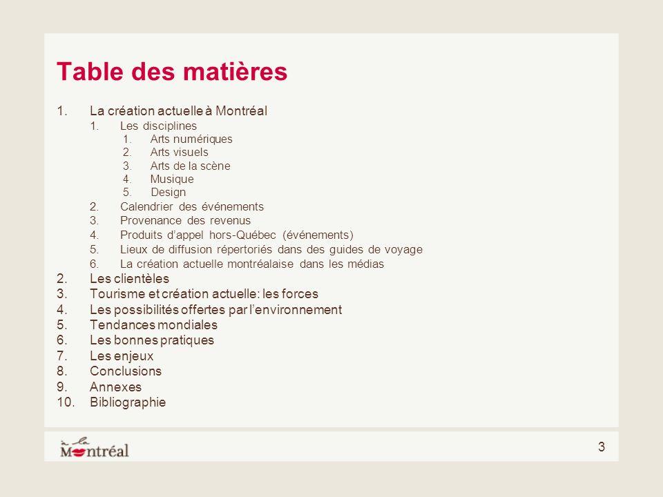 Table des matières La création actuelle à Montréal Les clientèles
