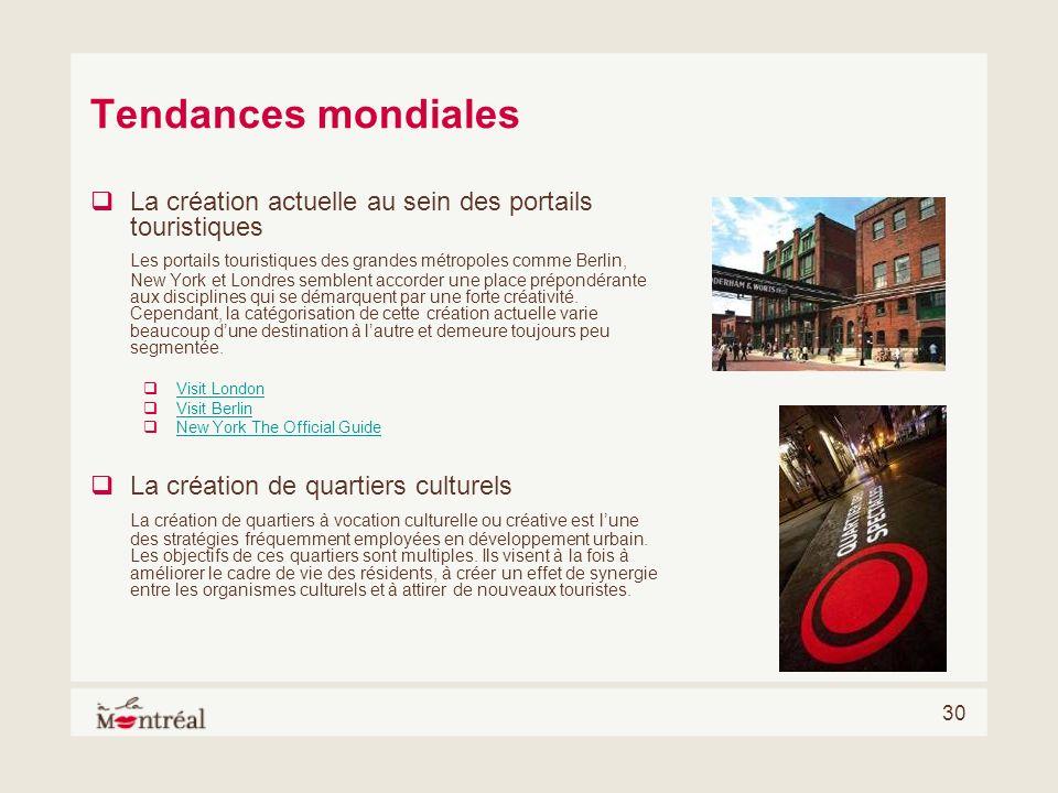 Tendances mondialesLa création actuelle au sein des portails touristiques.
