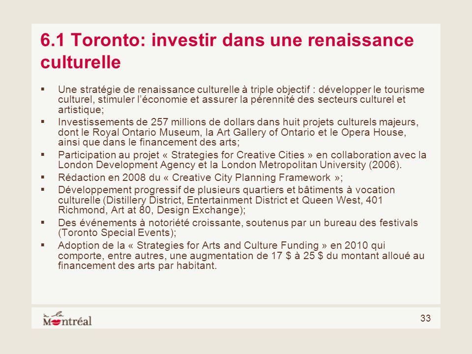 6.1 Toronto: investir dans une renaissance culturelle
