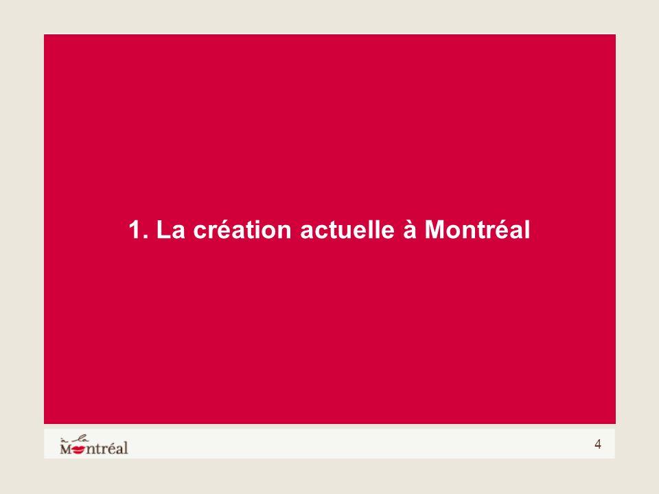 1. La création actuelle à Montréal