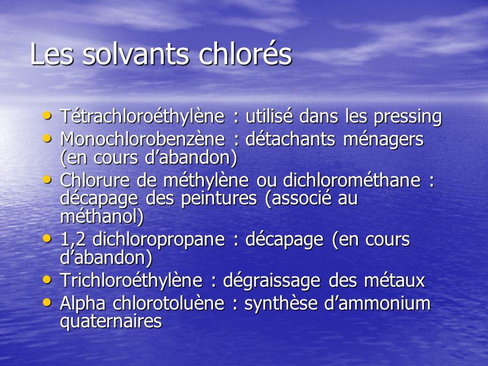 Les solvants chlorés Tétrachloroéthylène : utilisé dans les pressing