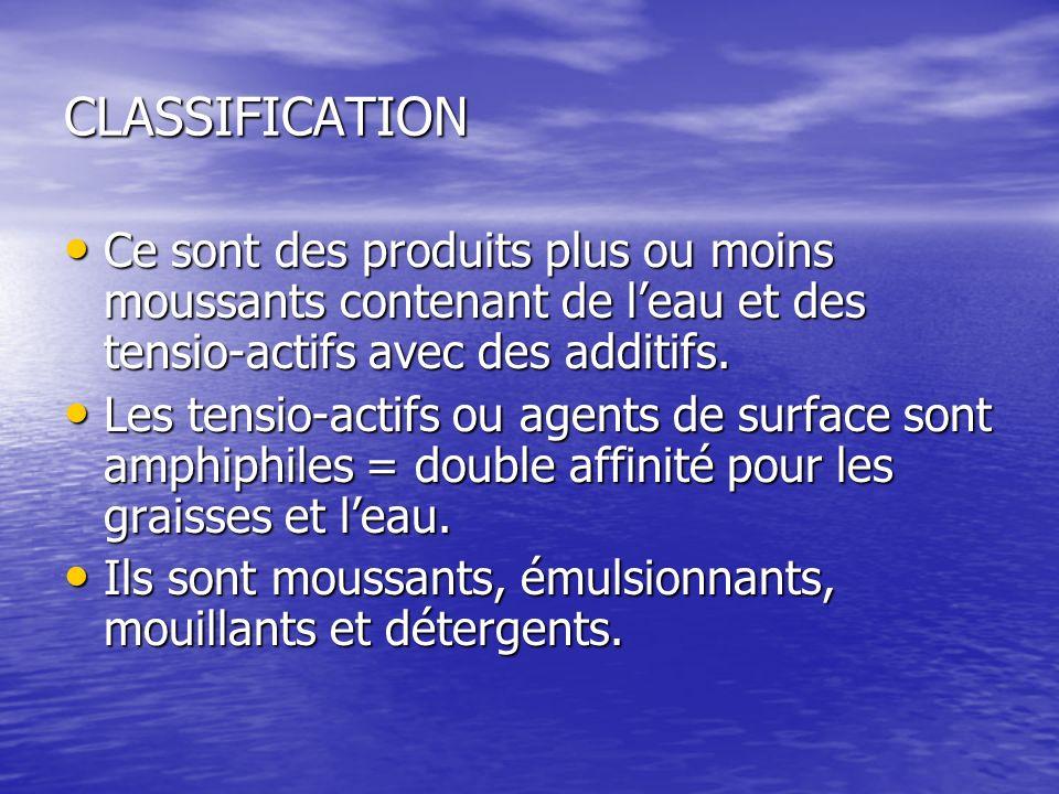 CLASSIFICATION Ce sont des produits plus ou moins moussants contenant de l'eau et des tensio-actifs avec des additifs.