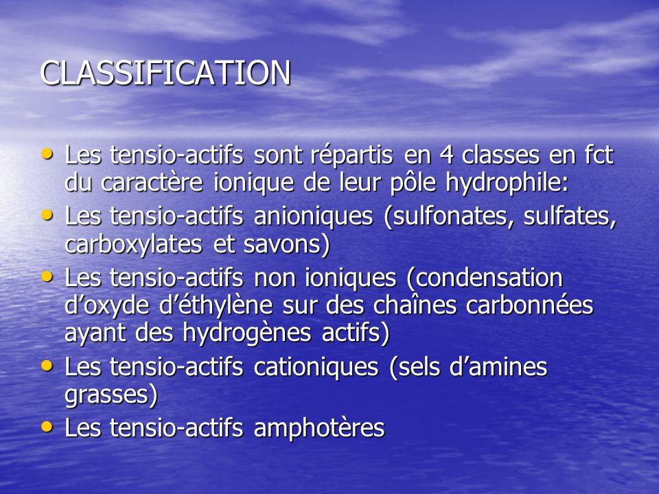 CLASSIFICATION Les tensio-actifs sont répartis en 4 classes en fct du caractère ionique de leur pôle hydrophile: